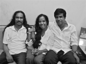 My brothers and I during my last visit home. There are many aspects of my brothers (Arjuna - to my right, Malinda - to my left) in Suren and Nihil: Ru Freeman