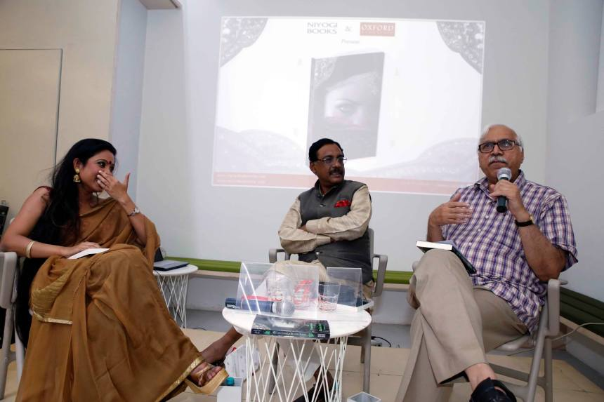 Debotri Dhar (on the left) at the launch of her debut novel in New Delhi