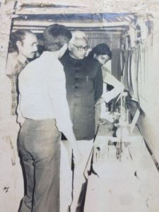 Thenthen Governor of Bihar Dr. A. R. Kidwai visit to INSAN back in 1982. Here he is visiting a student science exhibition.